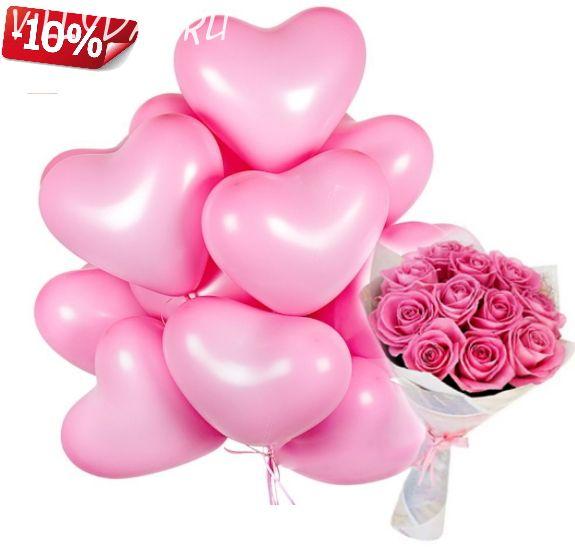 11 роз и 15 сердец (розовые)