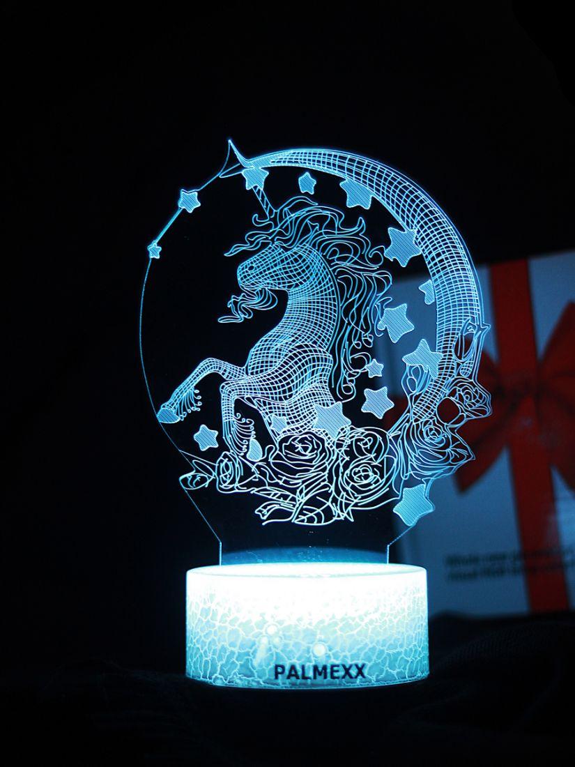 Светодиодный ночник PALMEXX 3D светильник LED RGB 7 цветов (единорог)