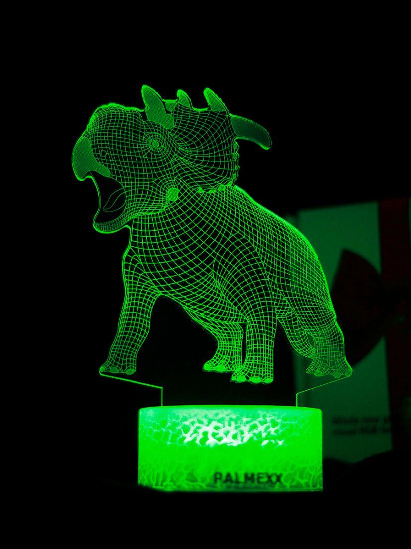 Светодиодный ночник PALMEXX 3D светильник LED RGB 7 цветов (трицератопс)