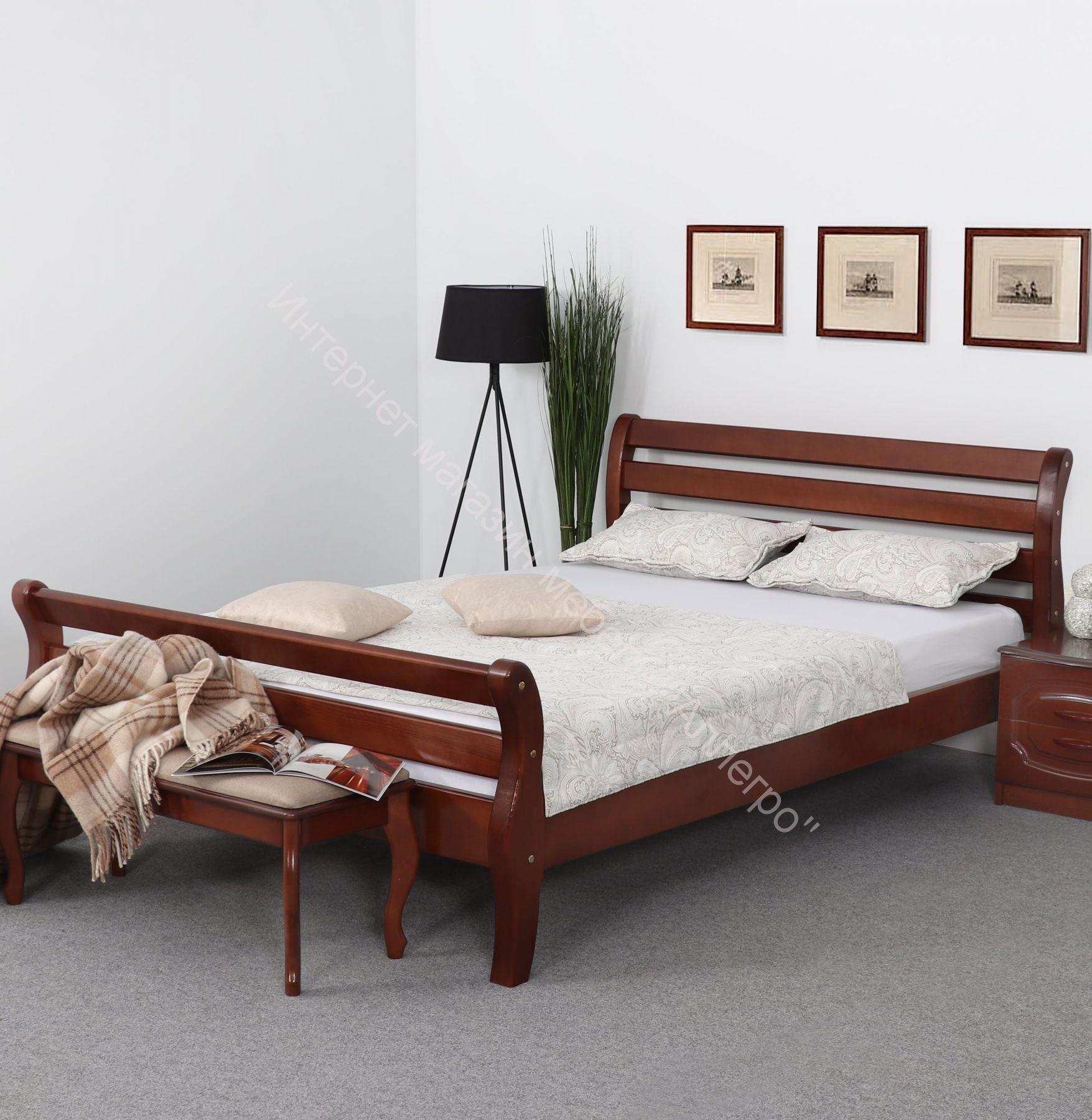 Кровать Аврора 1200/1400/1600 Орех светлый