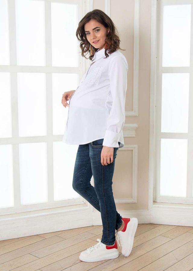 Рубашка с планкой на пуговицах, рукав длинный белый