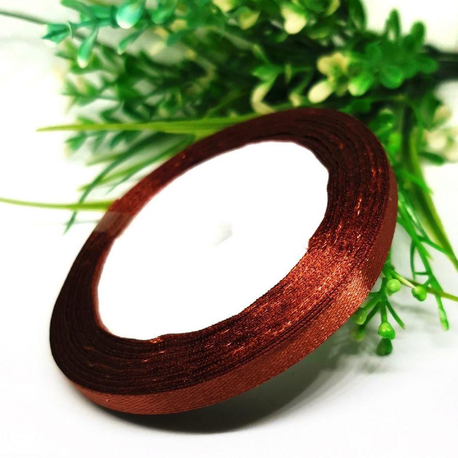 Лента Атласная, 6 мм, 22,86 м, цвет Шоколад