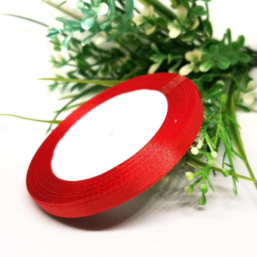 Лента Атласная, 6 мм, 22,86 м, цвет Красный