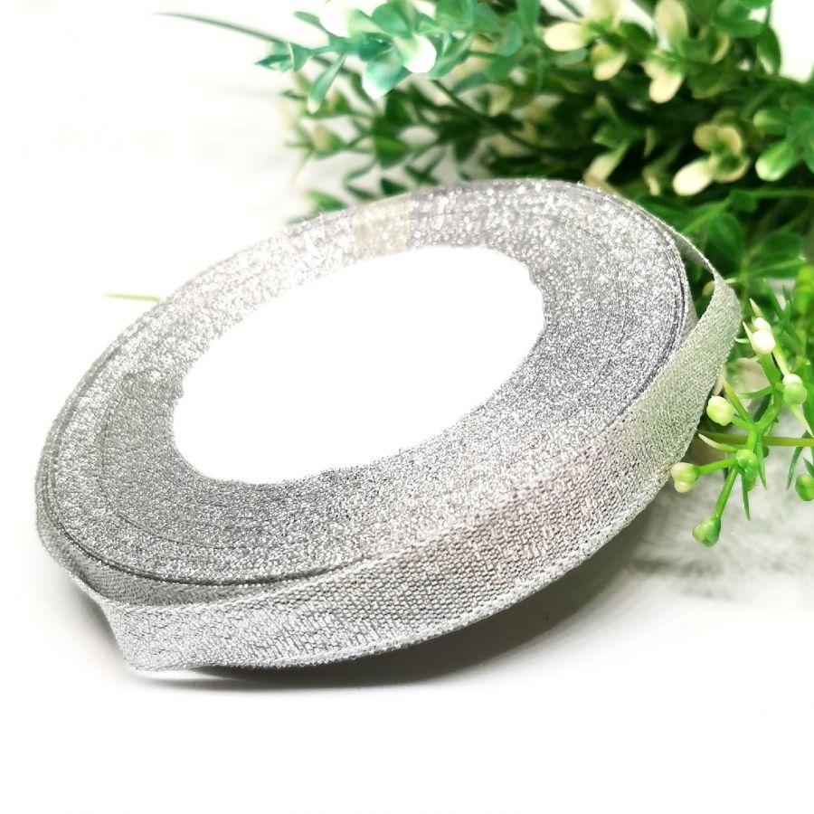 Лента металлизированная (с люрексом), 12 мм, цвет серебро, 1м