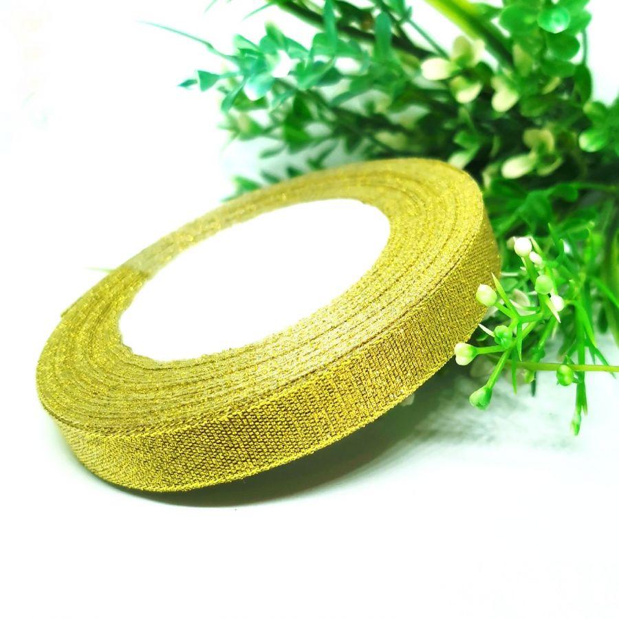 Лента металлизированная (с люрексом), 12 мм, цвет золото, 1м