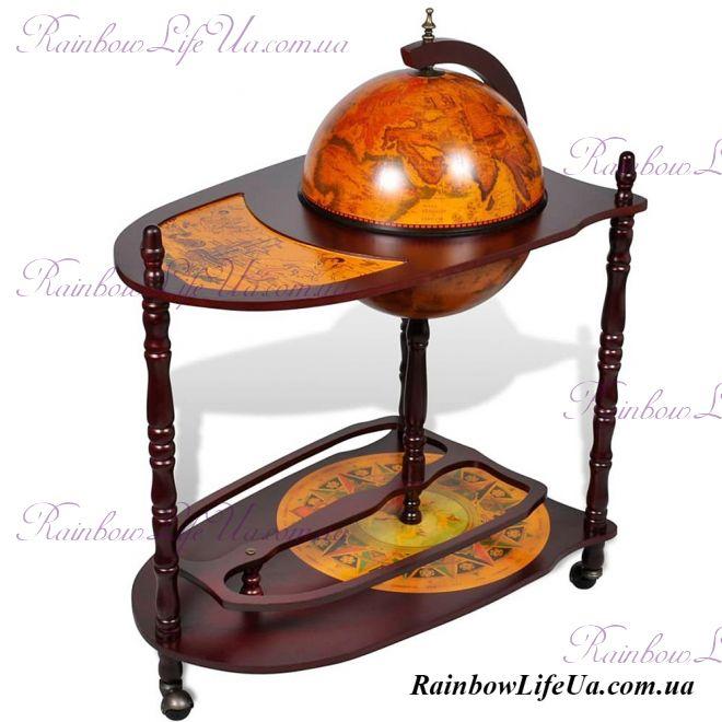Глобус бар напольный 33035 со столиком коричневый
