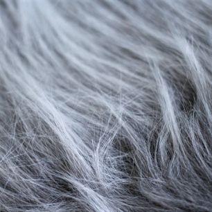 Мех для бороды длинноворсовый - Пепельно-седой 50х37