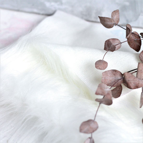 Мех для бороды длинноворсовый - Молочно-белый 50х37