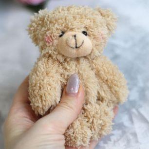 Мишка для куклы Бежевый с румяными щечками 12 см