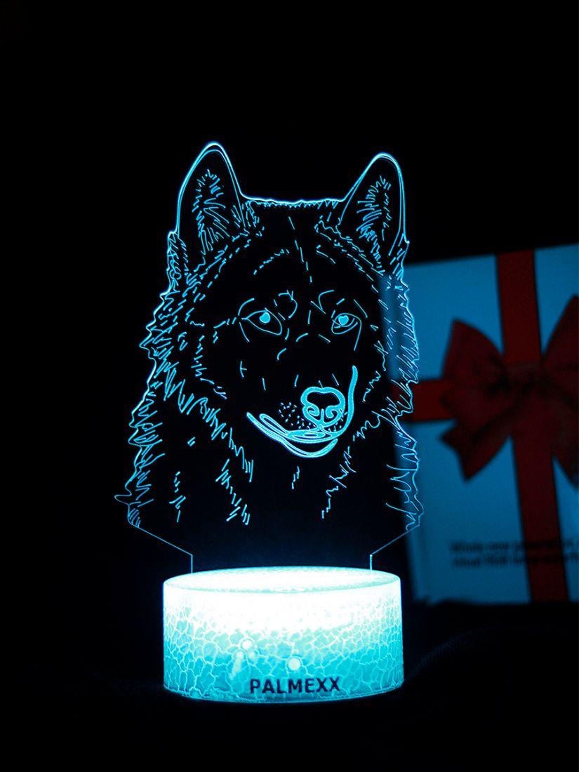 Светодиодный ночник PALMEXX 3D светильник LED RGB 7 цветов (волк)