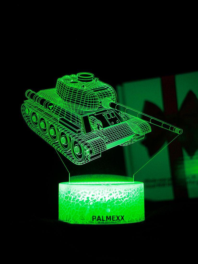 Светодиодный ночник PALMEXX 3D светильник LED RGB 7 цветов (танк)