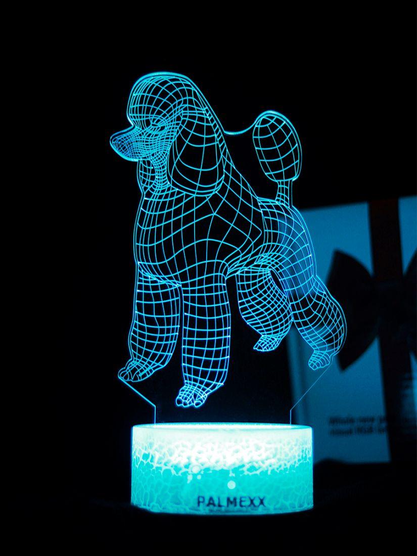 Светодиодный ночник PALMEXX 3D светильник LED RGB 7 цветов (пудель)