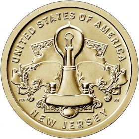 1 доллар США. Американские инновации - Нью-Джерси, Лампа Эдисона 2019 - 4 монета