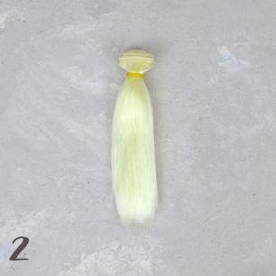 Шелковые трессы для создания причеcки куклам - Шампань 15 см
