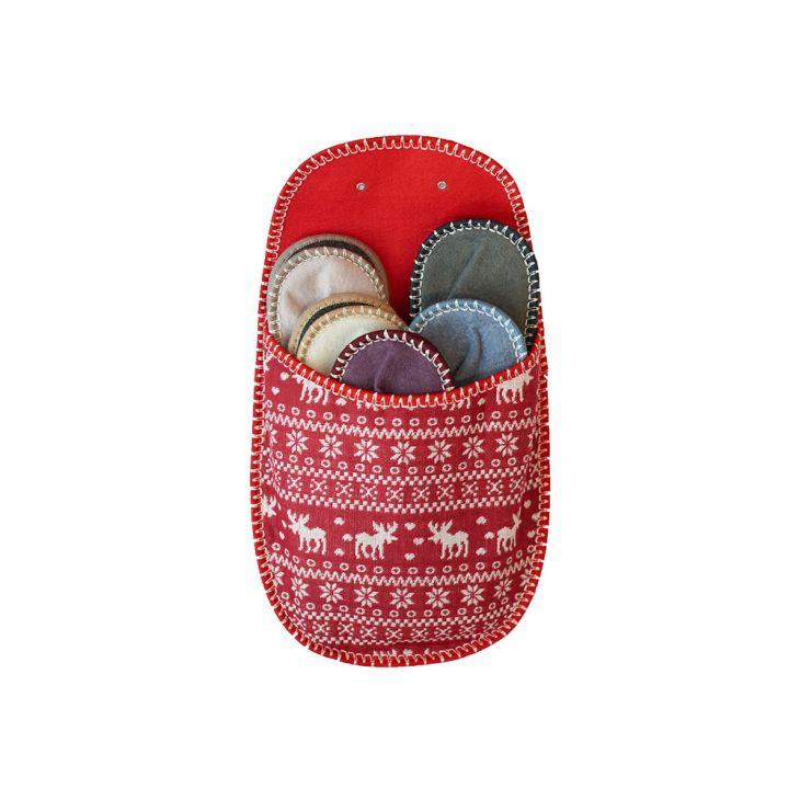 Тапочки подарочные 5 размеров LAPLANDIA red