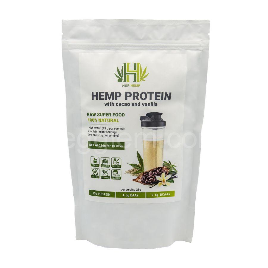 """Протеин конопляный с какао и ванилью  Hemp Protein """"HopHemp"""",250 грамм"""