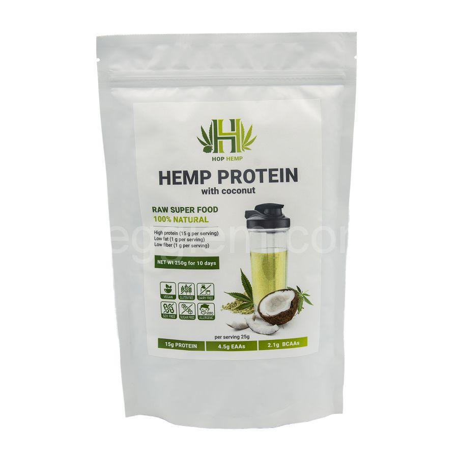 """Протеин конопляный с кокосом  Hemp Protein """"HopHemp"""",250 грамм"""