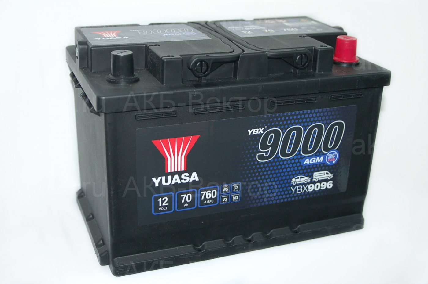 YUASA AGM 70Aч 760А(EN) YBX9096-070