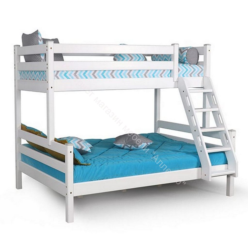 """Кровать двухъярусная с наклонной лестницей """"Адель"""" Белый полупрозрачный"""