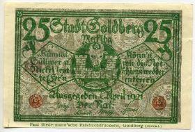 Германия. Нотгельд г. Гольдберг 25 пфеннигов 1921