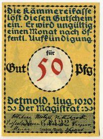 Германия. Нотгельд г. Детмольд 50 пфеннигов 1920