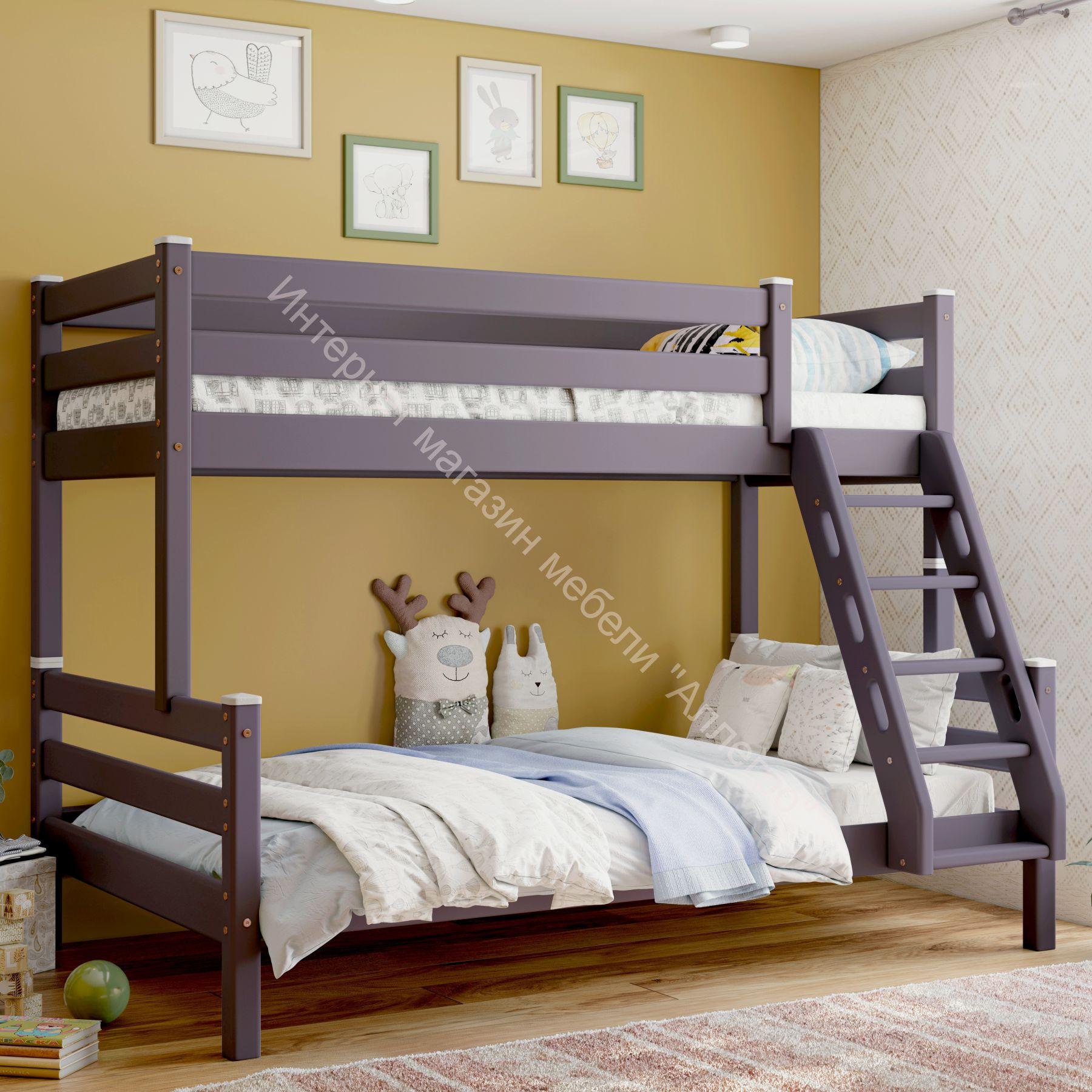 """Кровать двухъярусная с наклонной лестницей """"Адель"""" Лаванда"""