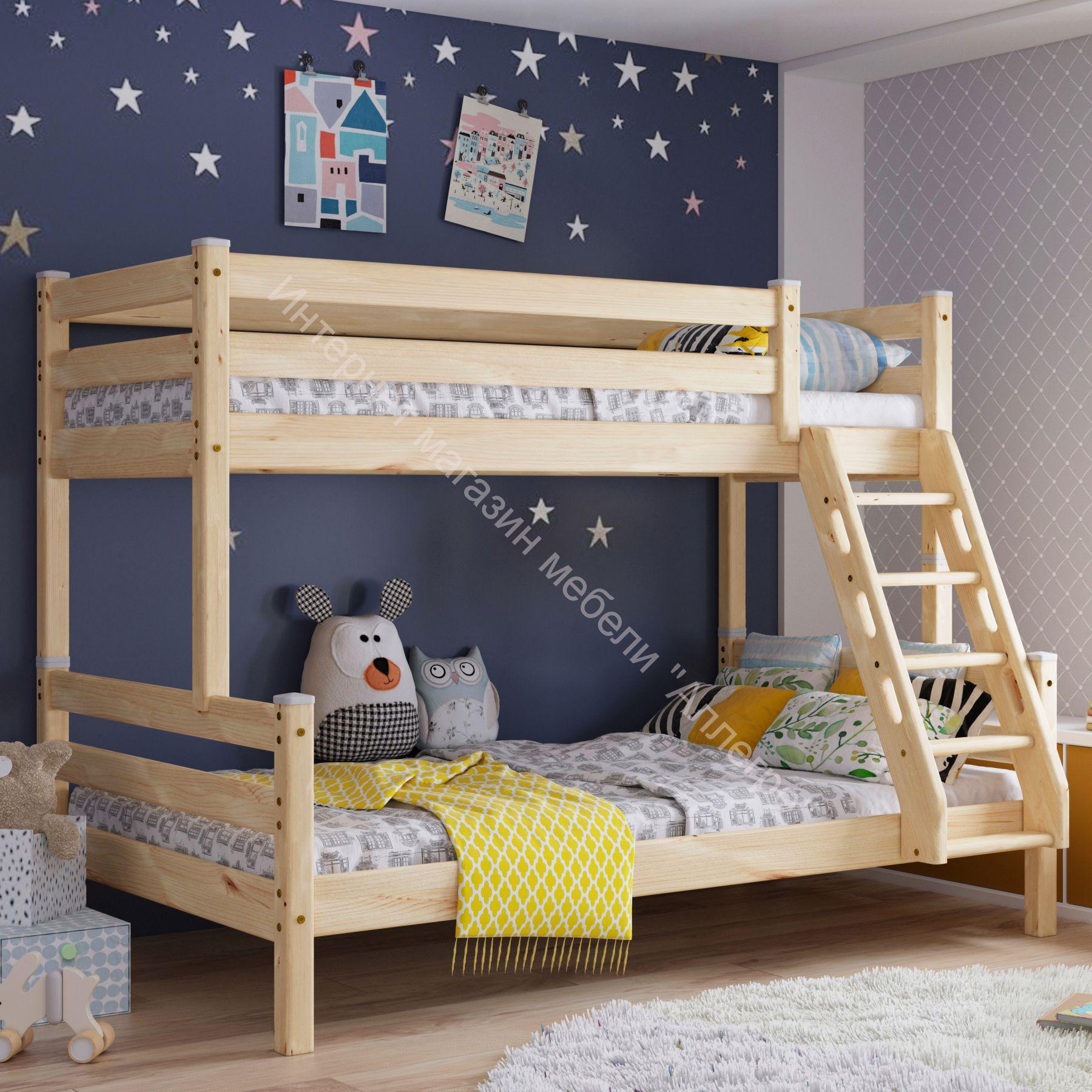 """Кровать двухъярусная с наклонной лестницей """"Адель"""" Прозрачный"""