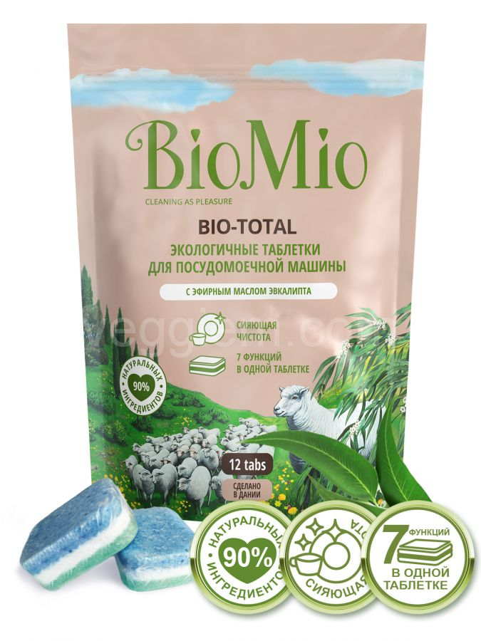 Таблетки для посудомоечной машины с маслом эвкалипта BioMio,12 шт