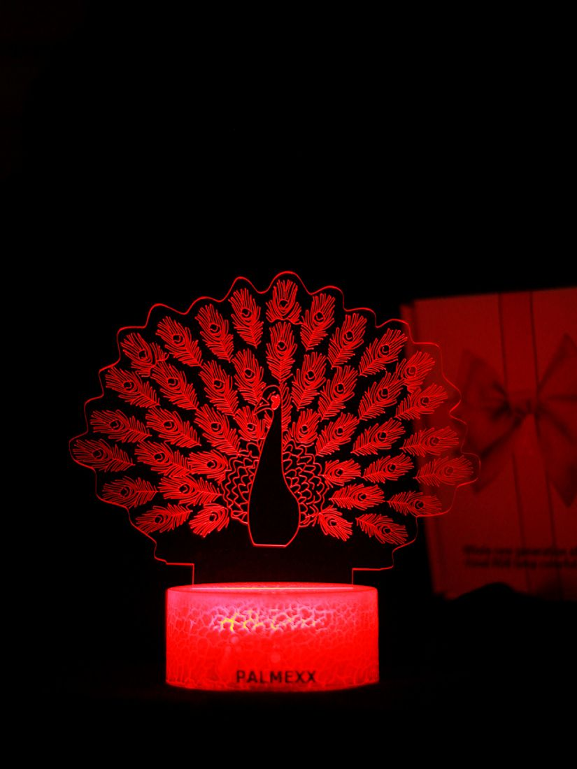 Светодиодный ночник PALMEXX 3D светильник LED RGB 7 цветов (павлин)