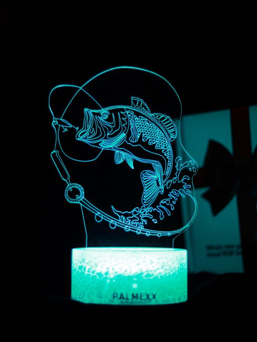 Светодиодный ночник PALMEXX 3D светильник LED RGB 7 цветов (рыбалка)