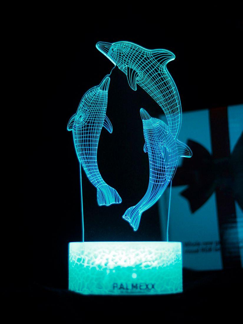 Светодиодный ночник PALMEXX 3D светильник LED RGB 7 цветов (дельфины)