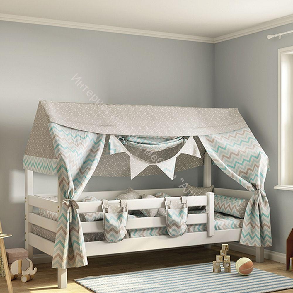 """Кровать с надстройкой """"Соня"""" Белый полупрозрачный"""