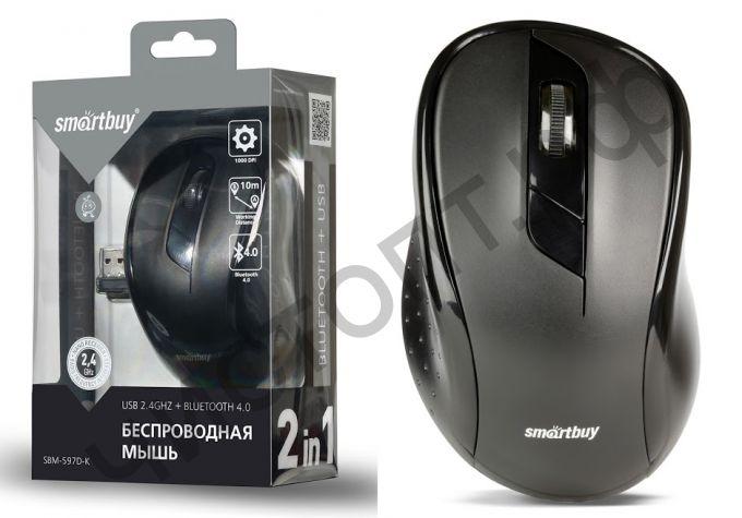 Мышь беспроводн. Smartbuy Dual Bluetooth+USB SBM-597D-K черная (SBM-597D-K)