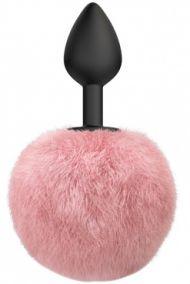 Анальная пробка силиконовая с розовым хвостиком Lola Games Emotions Fluffy, 7*3 см