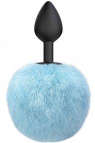 Анальная пробка силиконовая с голубым хвостиком Lola Games Emotions Fluffy, 7*3 см