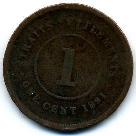 Стрейтс-Сетлментс 1 цент 1891