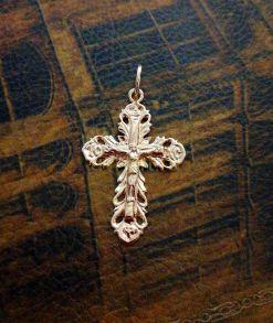 Позолоченный ажурный крест с крученой цепочкой в комплекте (арт. 250320)