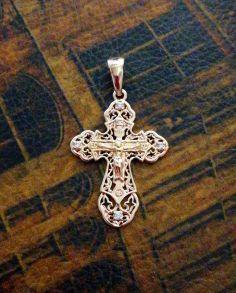 Позолоченный ажурный крест с фианитами (арт. 250321)