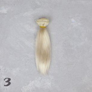 Шелковые трессы для создания причеcки куклам -  Жемчужный 15 см