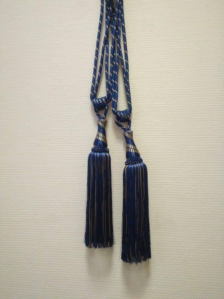 Кисти для штор Ф-23 (синий) 34 см кисть + 34 см подхват