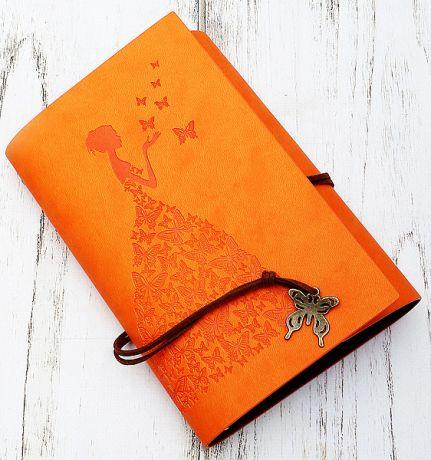 Блокнот Девушка с бабочками (10*15 см., оранжевый)