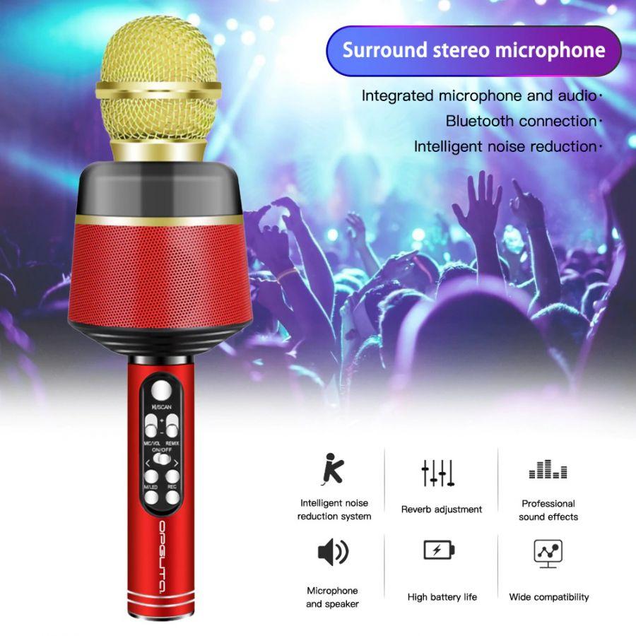 Орбита OT-ERM10 Красный RGB микрофон (Bluetooth, динамики, USB)