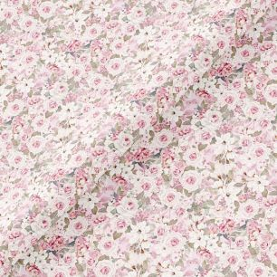 Хлопок Перкаль - Нежные розочки на розовом 50х37