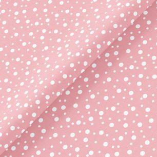 Хлопок Перкаль - Белый горошек на розовом 50х37