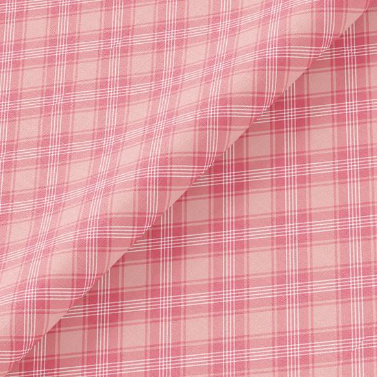 Хлопок Перкаль - Розовая косая клетка 50х37