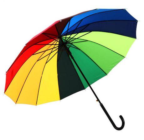 Зонт-трость Радуга с кожаной ручкой