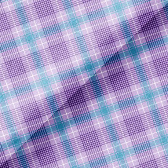 Хлопок Перкаль - Сиреневая шотландская клетка 50х37