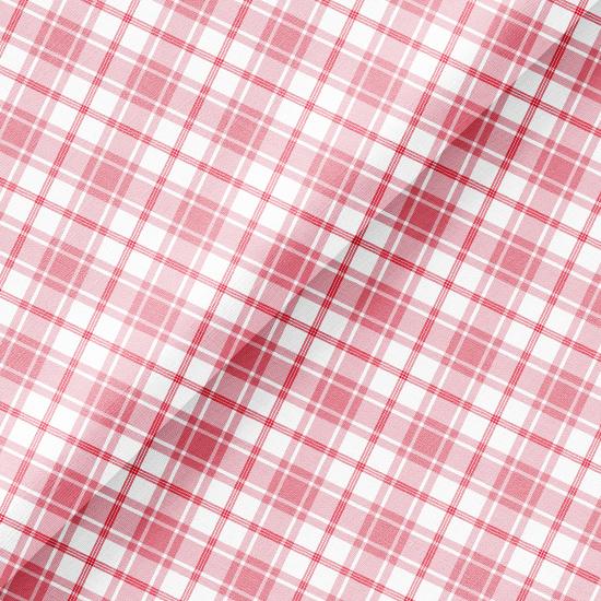 Хлопок Перкаль - Розовая косая клетка на белом 50х37