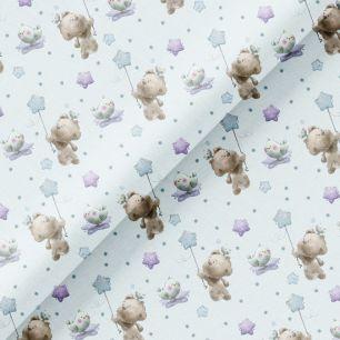 Хлопок Перкаль - Мишка со звездочкой на голубом 50х37