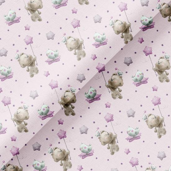 Хлопок Перкаль - Мишка со звездочкой на сиреневом 50х37